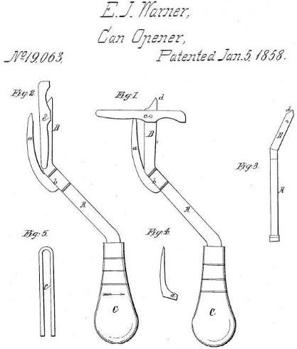 Ezra Warner's Tin Can Opener, Source: US Patent Office