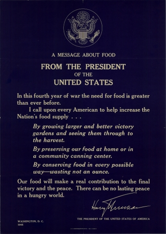 Harry Truman Presidential Proclamation on Food