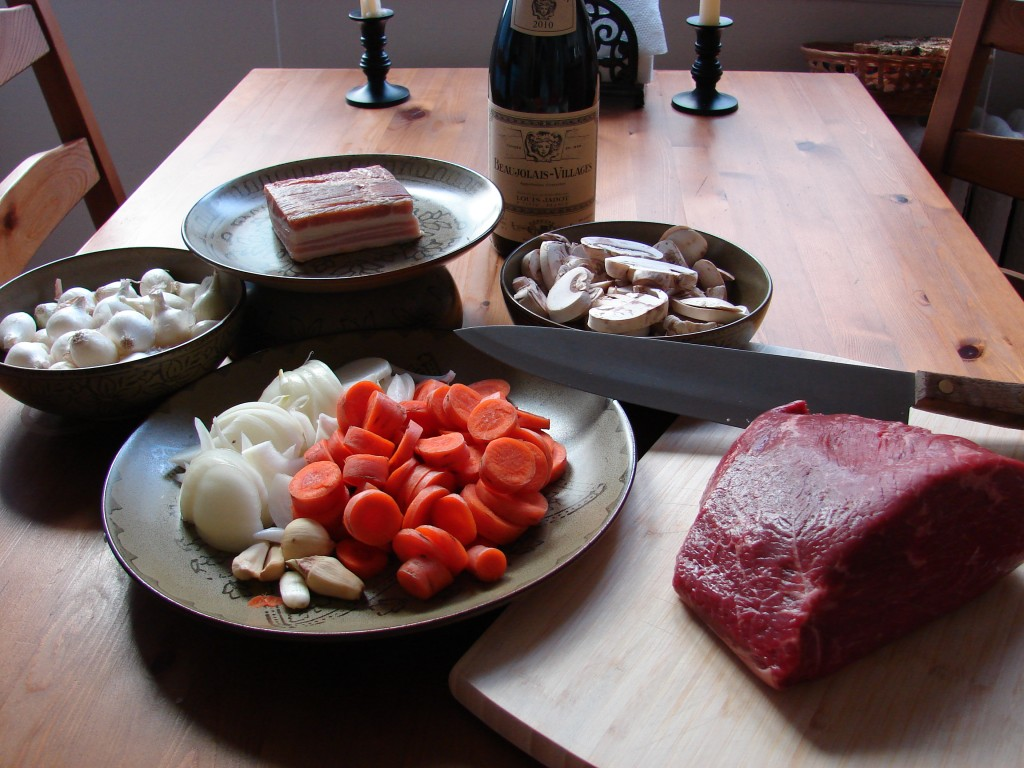 Ingredients for Julia Child's Boeuf Bourgignon, Photo: Eric Colleary