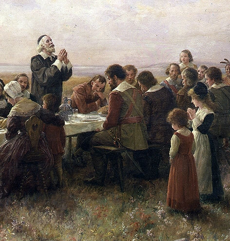 """The First Thanksgiving at Plymouth"" (1914), Jennie A. Brownscombe. Detail"