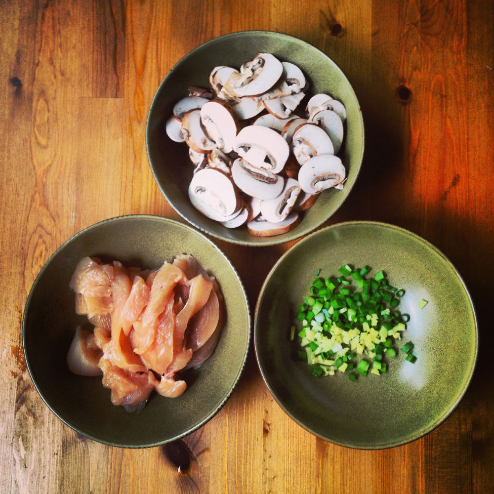 Ingredients for Stir-Fry Chicken and Mushrooms