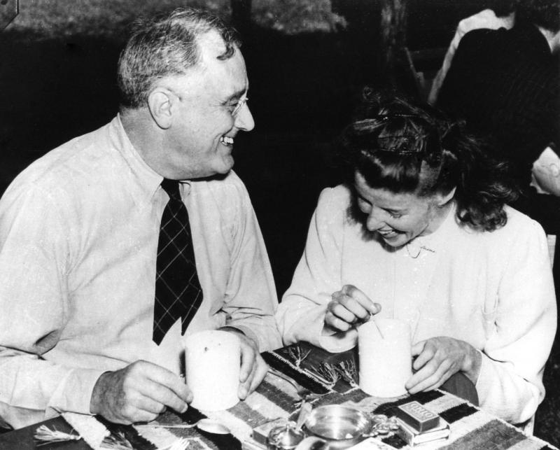 Franklin Roosevelt and Katherine Hepburn enjoying soup at Val-Kill cottage in Hyde Park, NY, 1940